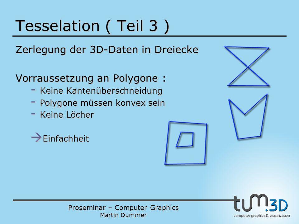 Proseminar – Computer Graphics Martin Dummer computer graphics & visualization Tesselation ( Teil 3 ) Zerlegung der 3D-Daten in Dreiecke Vorraussetzun