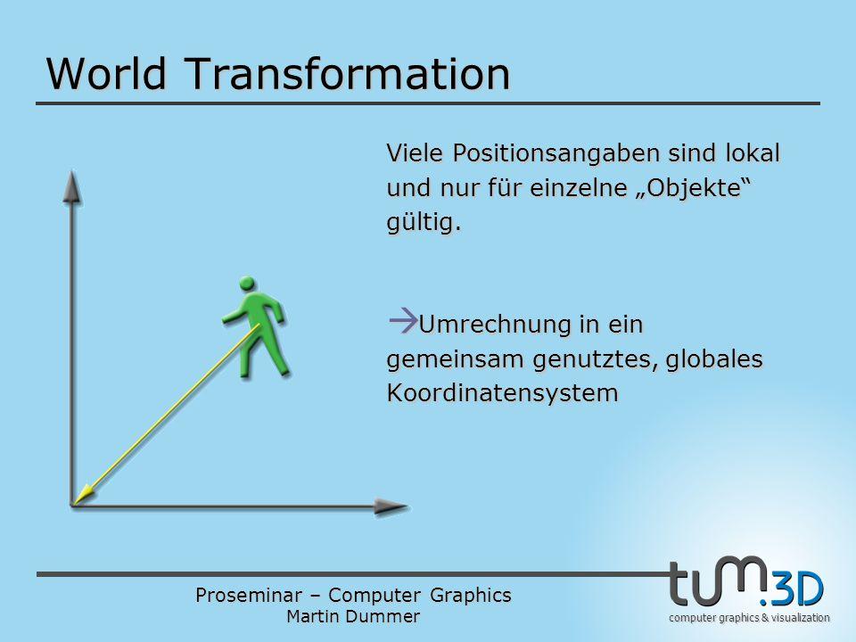 Proseminar – Computer Graphics Martin Dummer computer graphics & visualization World Transformation Viele Positionsangaben sind lokal und nur für einz