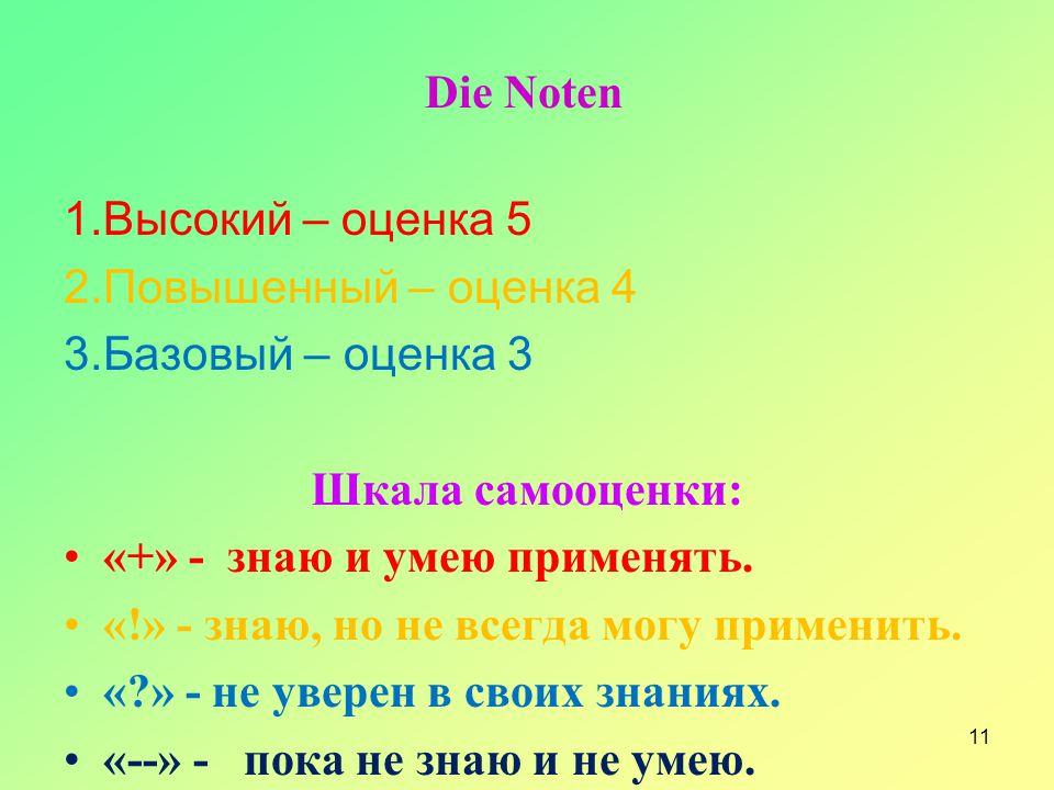 Die Noten 1.Высокий – оценка 5 2.Повышенный – оценка 4 3.Базовый – оценка 3 Шкала самооценки: «+» - знаю и умею применять. «!» - знаю, но не всегда мо