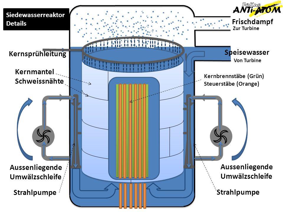 Frischdampf Zur Turbine Von Turbine Aussenliegende Umwälzschleife Aussenliegende Umwälzschleife Strahlpumpe Kernsprühleitung Siedewasserreaktor Detail