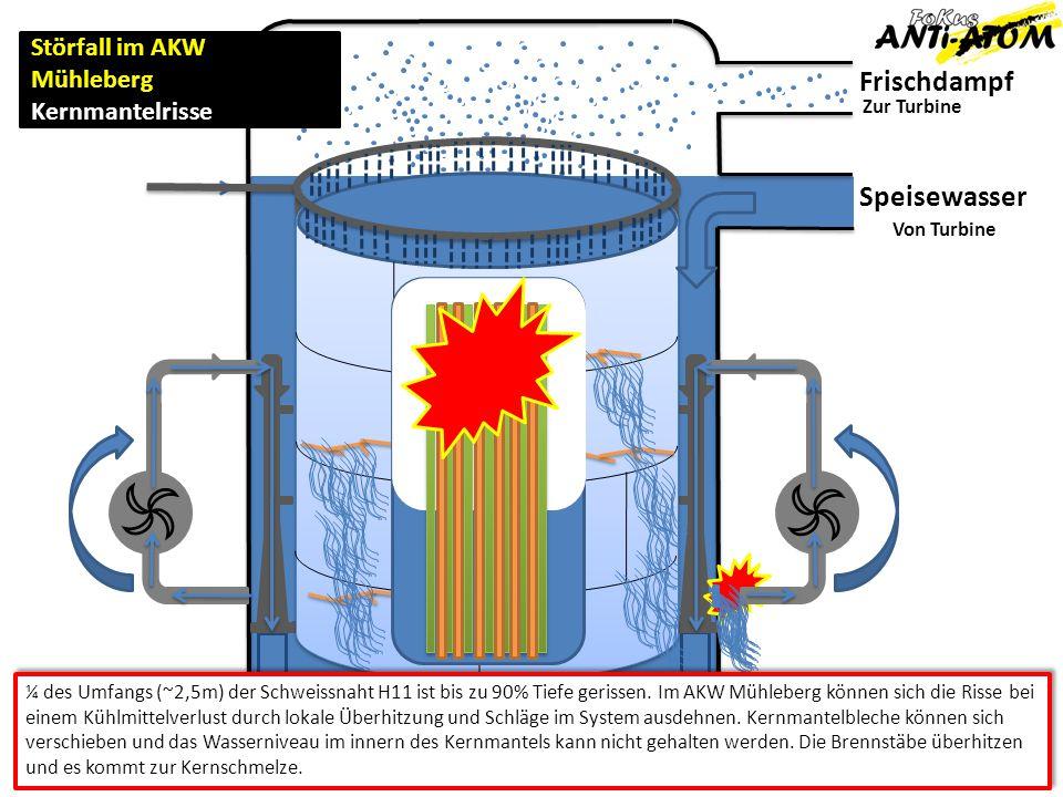 Frischdampf Zur Turbine Von Turbine Störfall im AKW Mühleberg Kernmantelrisse Speisewasser ¼ des Umfangs (~2,5m) der Schweissnaht H11 ist bis zu 90% T