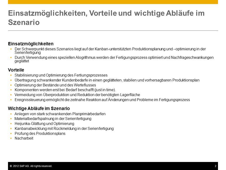 ©2012 SAP AG. All rights reserved.2 Einsatzmöglichkeiten, Vorteile und wichtige Abläufe im Szenario Einsatzmöglichkeiten  Der Schwerpunkt dieses Szen