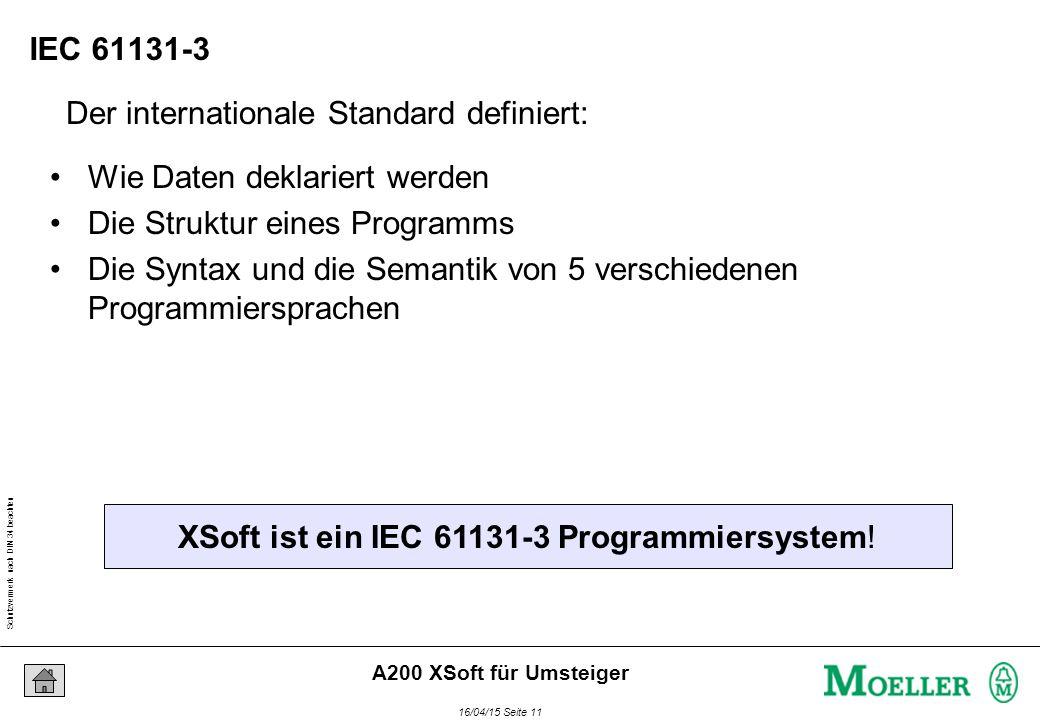 Schutzvermerk nach DIN 34 beachten 16/04/15 Seite 11 A200 XSoft für Umsteiger Der internationale Standard definiert: XSoft ist ein IEC 61131-3 Programmiersystem.