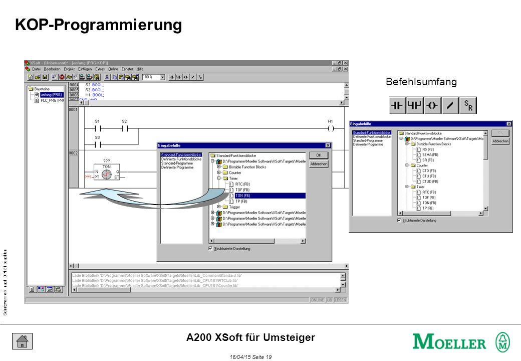 Schutzvermerk nach DIN 34 beachten 16/04/15 Seite 19 A200 XSoft für Umsteiger Befehlsumfang KOP-Programmierung
