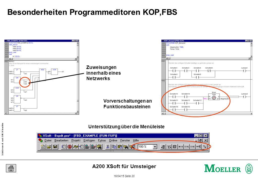 Schutzvermerk nach DIN 34 beachten 16/04/15 Seite 20 A200 XSoft für Umsteiger Zuweisungen innerhalb eines Netzwerks Unterstützung über die Menüleiste Vorverschaltungen an Funktionsbausteinen Besonderheiten Programmeditoren KOP,FBS