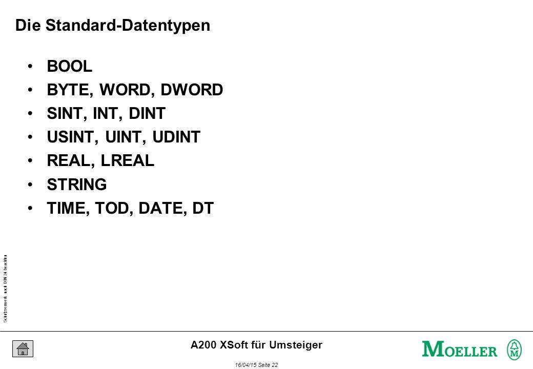 Schutzvermerk nach DIN 34 beachten 16/04/15 Seite 22 A200 XSoft für Umsteiger Die Standard-Datentypen BOOL BYTE, WORD, DWORD SINT, INT, DINT USINT, UINT, UDINT REAL, LREAL STRING TIME, TOD, DATE, DT