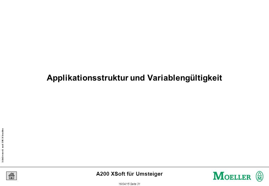 Schutzvermerk nach DIN 34 beachten 16/04/15 Seite 31 A200 XSoft für Umsteiger Applikationsstruktur und Variablengültigkeit
