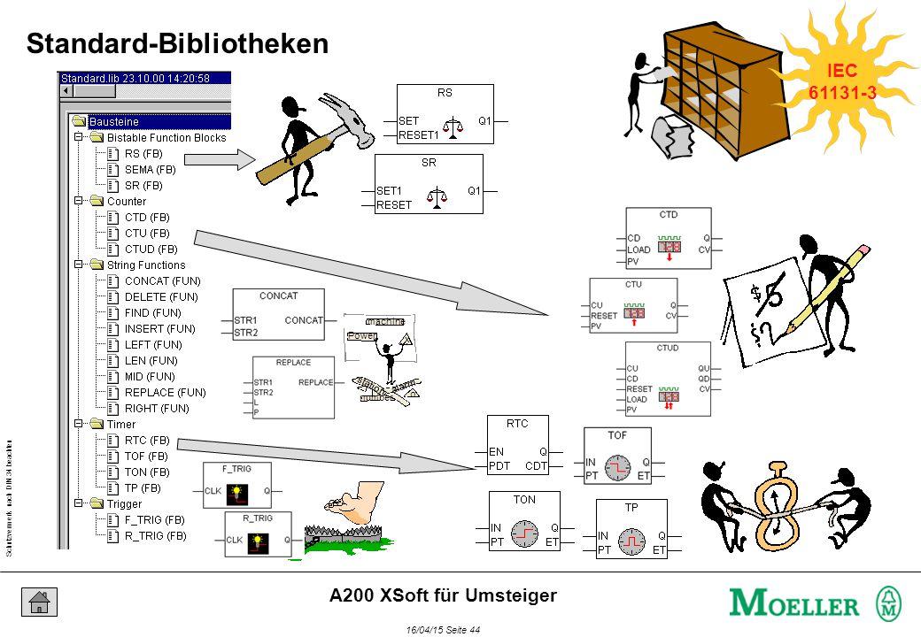 Schutzvermerk nach DIN 34 beachten 16/04/15 Seite 44 A200 XSoft für Umsteiger Power machine x o station number alarm IEC 61131-3 Standard-Bibliotheken