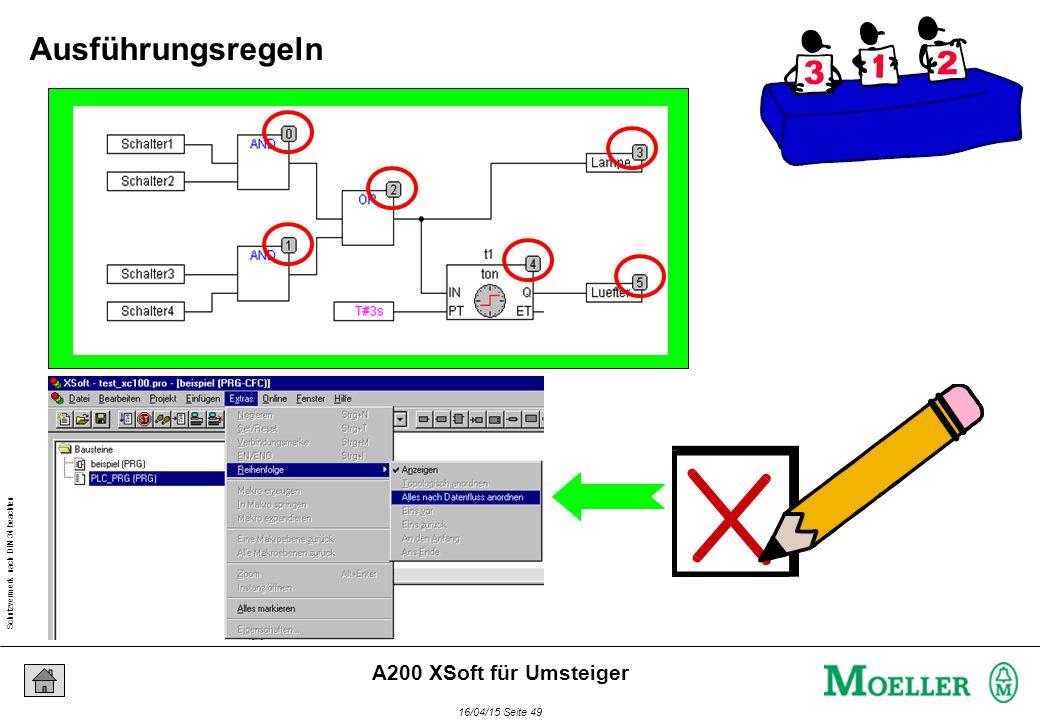 Schutzvermerk nach DIN 34 beachten 16/04/15 Seite 49 A200 XSoft für Umsteiger Ausführungsregeln