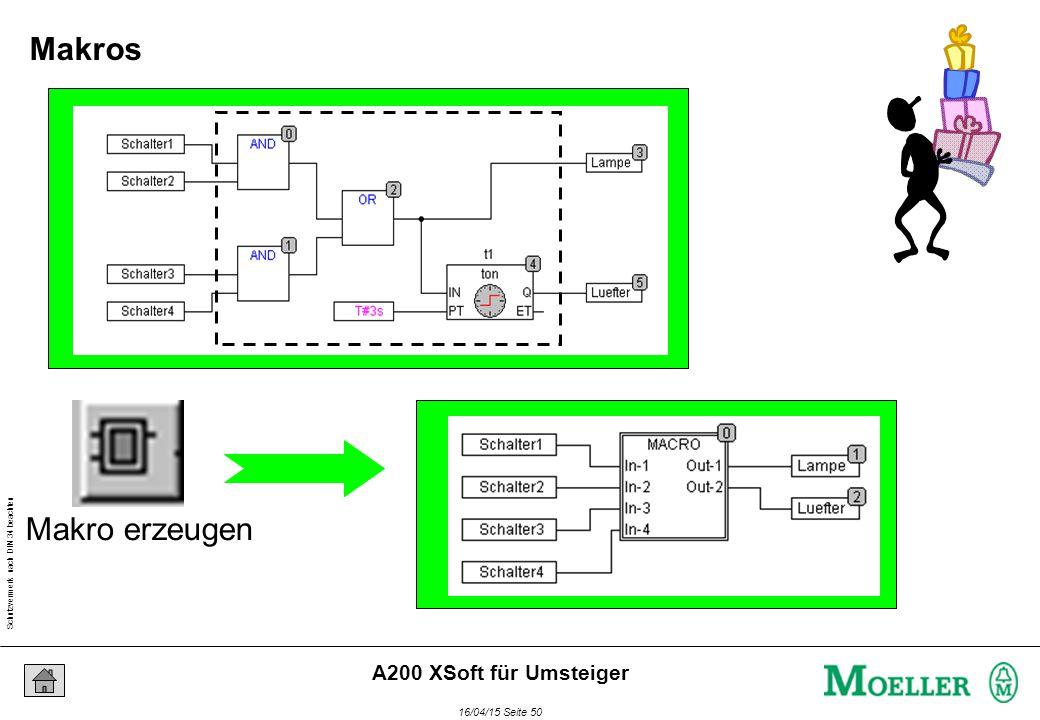 Schutzvermerk nach DIN 34 beachten 16/04/15 Seite 50 A200 XSoft für Umsteiger Makro erzeugen Makros