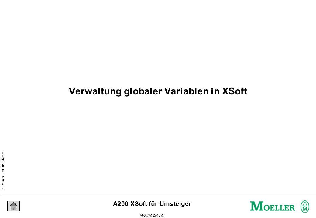 Schutzvermerk nach DIN 34 beachten 16/04/15 Seite 51 A200 XSoft für Umsteiger Verwaltung globaler Variablen in XSoft
