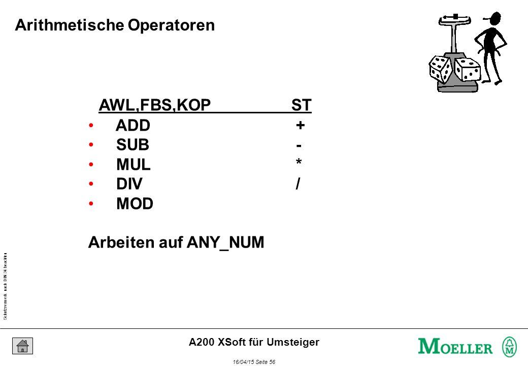 Schutzvermerk nach DIN 34 beachten 16/04/15 Seite 56 A200 XSoft für Umsteiger AWL,FBS,KOPST ADD + SUB - MUL * DIV / MOD Arbeiten auf ANY_NUM Arithmetische Operatoren