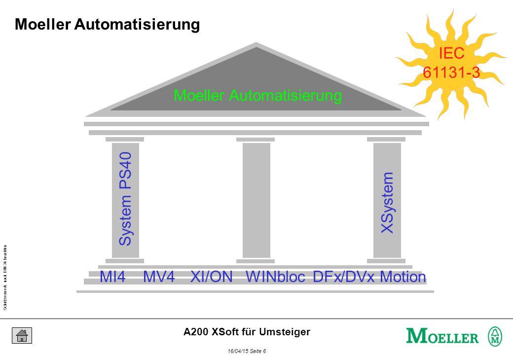 Schutzvermerk nach DIN 34 beachten 16/04/15 Seite 27 A200 XSoft für Umsteiger Bereichseingrenzungen Geschwindigkeit : UINT(250..3500); Aufzählungen tDialmode : (TONE, PULSE); Felder Strukturen Messwerte : ARRAY[1..10] OF INT; Betriebsdaten : STRUCT Temperatur : REAL; Zeit : DT; END_STRUCT IEC 61131-3 Abgeleitete Datentypen