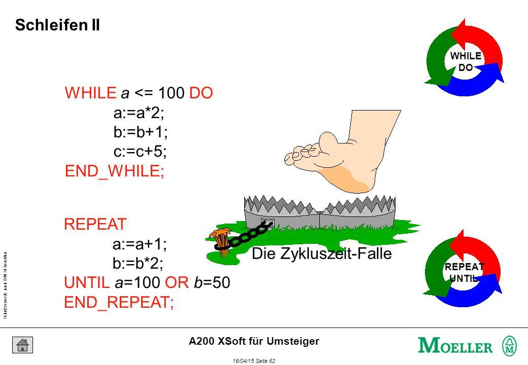 Schutzvermerk nach DIN 34 beachten 16/04/15 Seite 62 A200 XSoft für Umsteiger WHILE a <= 100 DO a:=a*2; b:=b+1; c:=c+5; END_WHILE; WHILE DO REPEAT a:=a+1; b:=b*2; UNTIL a=100 OR b=50 END_REPEAT; REPEAT UNTIL Die Zykluszeit-Falle Schleifen II
