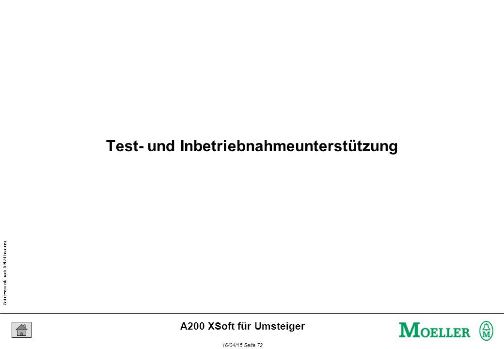 Schutzvermerk nach DIN 34 beachten 16/04/15 Seite 72 A200 XSoft für Umsteiger Test- und Inbetriebnahmeunterstützung