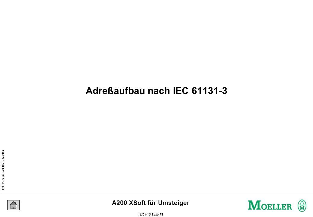 Schutzvermerk nach DIN 34 beachten 16/04/15 Seite 76 A200 XSoft für Umsteiger Adreßaufbau nach IEC 61131-3