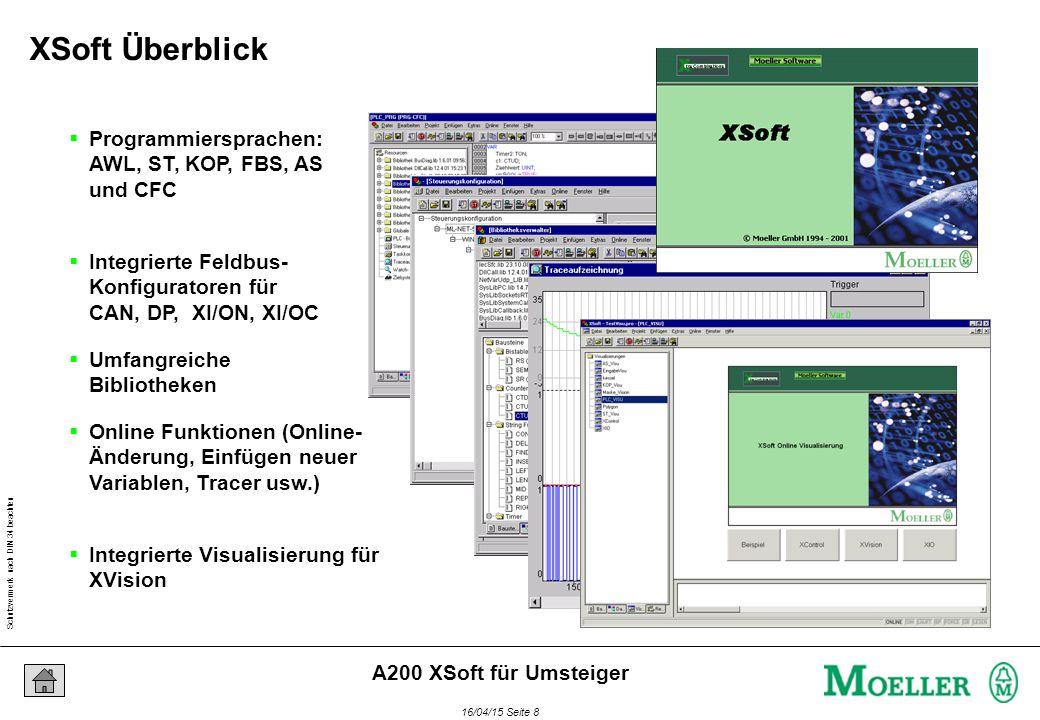 Schutzvermerk nach DIN 34 beachten 16/04/15 Seite 8 A200 XSoft für Umsteiger  Programmiersprachen: AWL, ST, KOP, FBS, AS und CFC  Integrierte Feldbus- Konfiguratoren für CAN, DP, XI/ON, XI/OC  Umfangreiche Bibliotheken  Online Funktionen (Online- Änderung, Einfügen neuer Variablen, Tracer usw.)  Integrierte Visualisierung für XVision XSoft Überblick