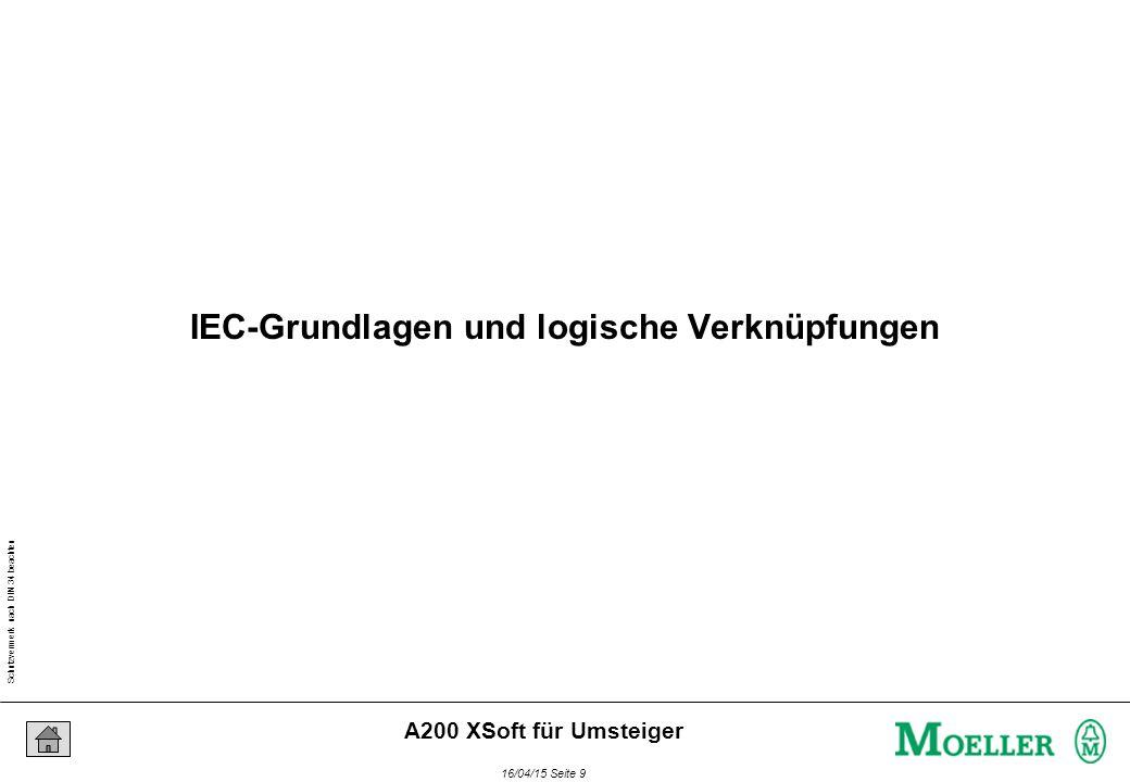 Schutzvermerk nach DIN 34 beachten 16/04/15 Seite 40 A200 XSoft für Umsteiger Instanzierung bedeutet: Zuordnung eines Datenbereiches zu einem Funktionsbaustein (oder einer Variablen) VAR Teilezaehler : CTU; END_VAR CTU Anweisungen + Teilezaehler Daten XControl-Speicher Instanzierung (1)