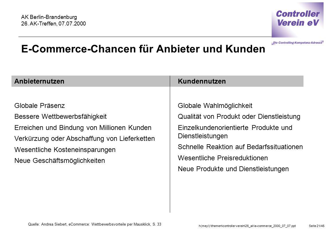 h(meyl):\themen\controller verein\26_ak\e-commerce_2000_07_07.pptSeite 21/45 AK Berlin-Brandenburg 26. AK-Treffen, 07.07.2000 E-Commerce-Chancen für A