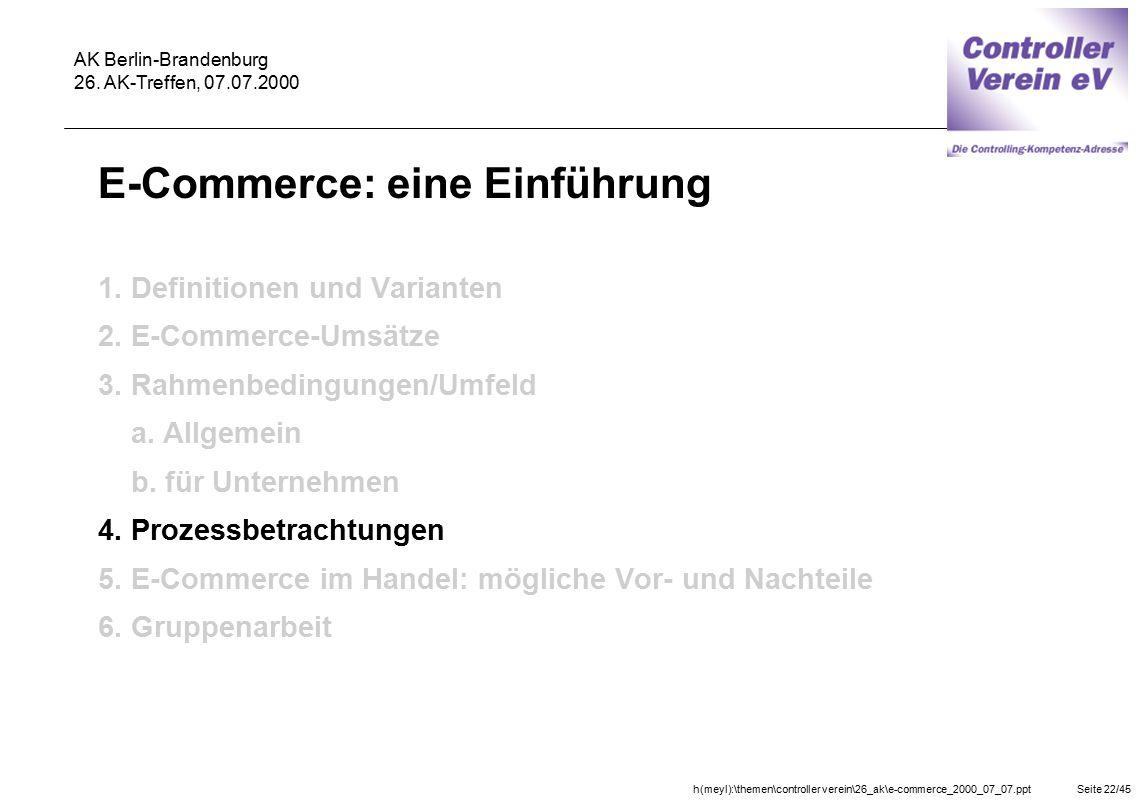 h(meyl):\themen\controller verein\26_ak\e-commerce_2000_07_07.pptSeite 22/45 AK Berlin-Brandenburg 26. AK-Treffen, 07.07.2000 E-Commerce: eine Einführ