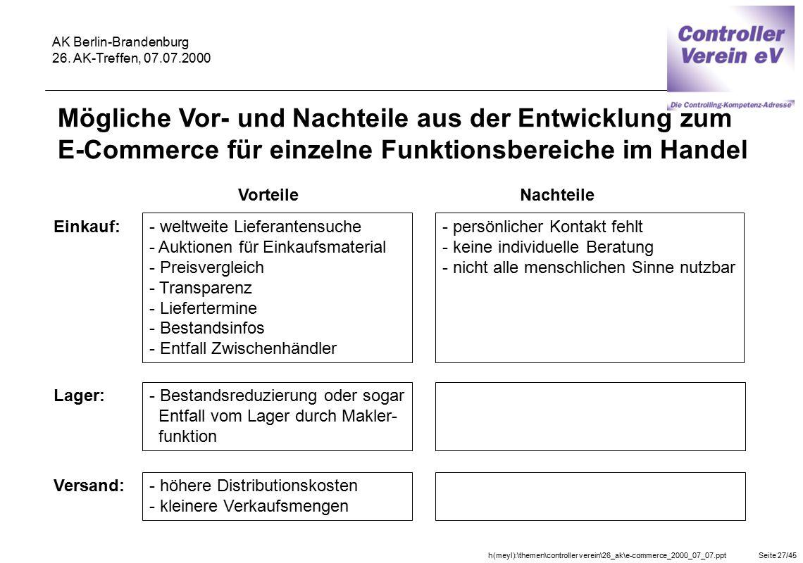 h(meyl):\themen\controller verein\26_ak\e-commerce_2000_07_07.pptSeite 27/45 AK Berlin-Brandenburg 26. AK-Treffen, 07.07.2000 Vorteile Einkauf: - welt