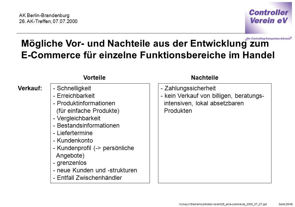 h(meyl):\themen\controller verein\26_ak\e-commerce_2000_07_07.pptSeite 28/45 AK Berlin-Brandenburg 26. AK-Treffen, 07.07.2000 Vorteile Verkauf: - Schn