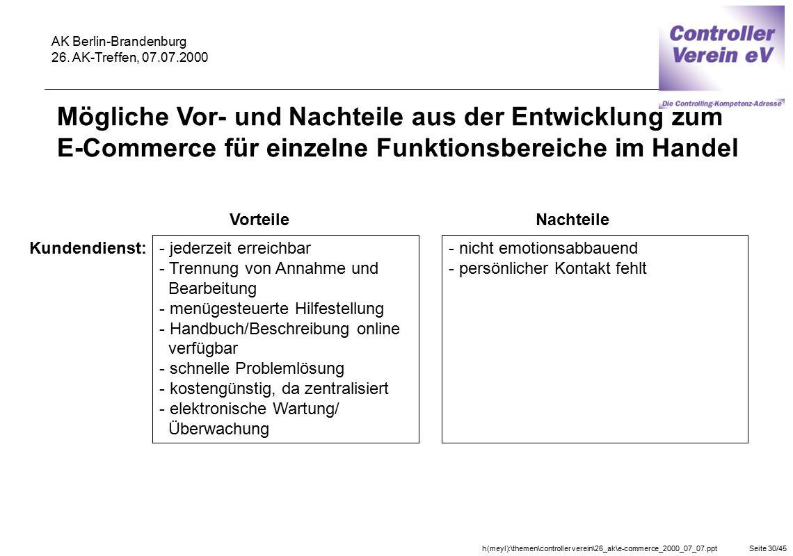 h(meyl):\themen\controller verein\26_ak\e-commerce_2000_07_07.pptSeite 30/45 AK Berlin-Brandenburg 26. AK-Treffen, 07.07.2000 Vorteile Kundendienst: -