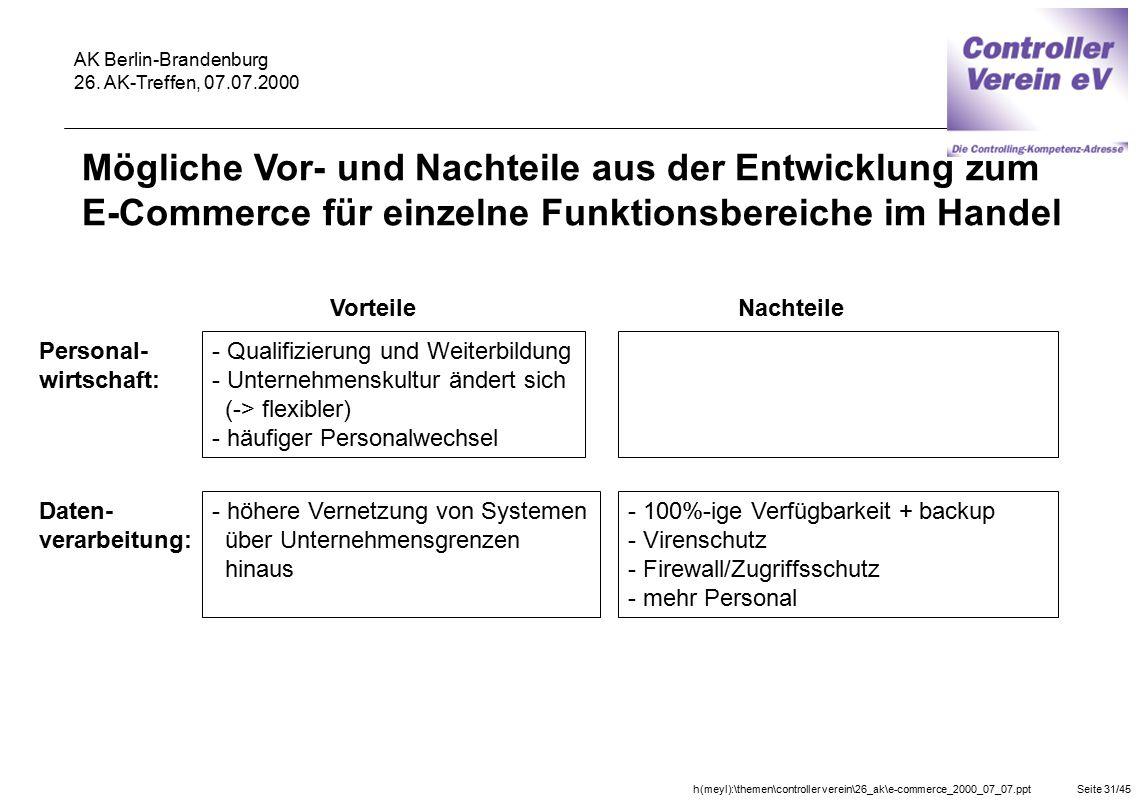 h(meyl):\themen\controller verein\26_ak\e-commerce_2000_07_07.pptSeite 31/45 AK Berlin-Brandenburg 26. AK-Treffen, 07.07.2000 Vorteile Personal- wirts