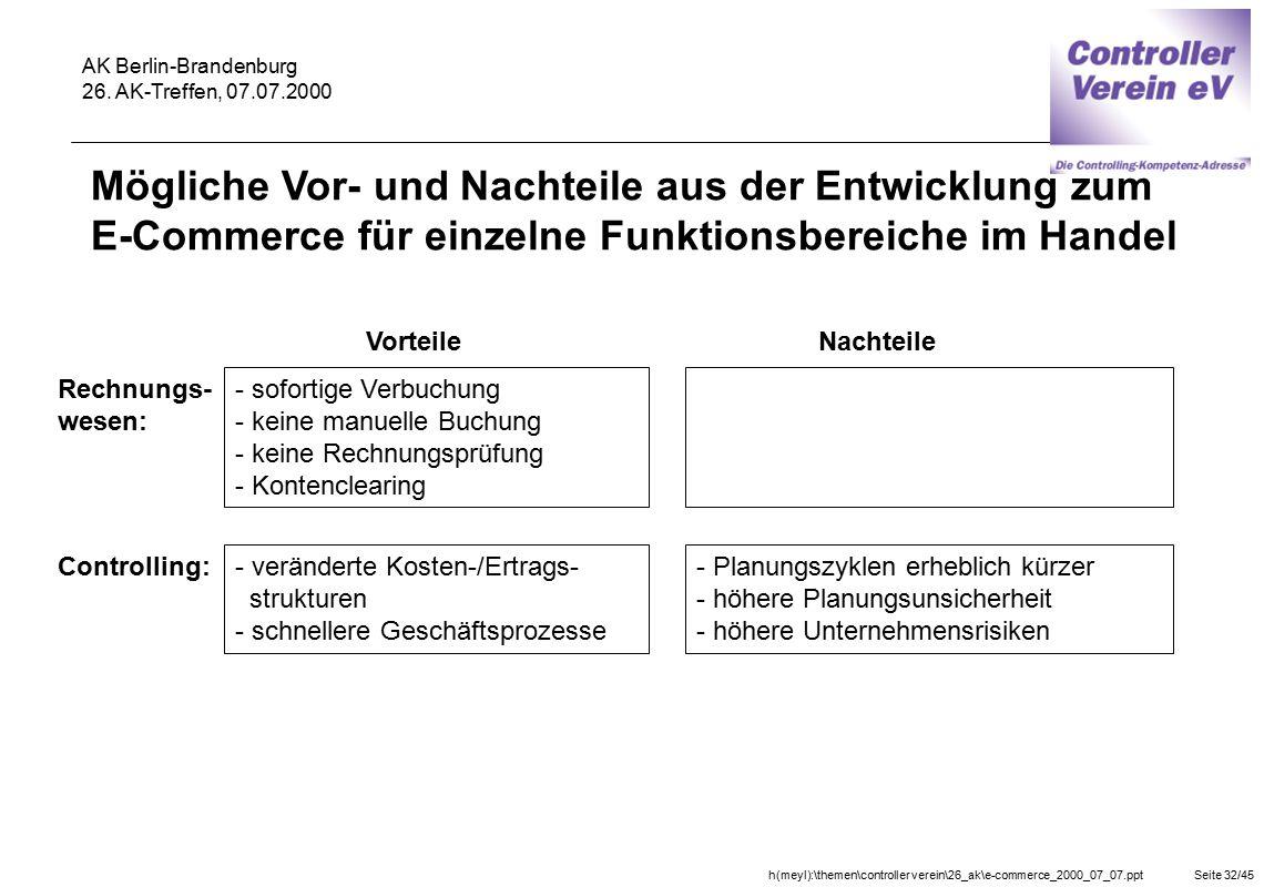 h(meyl):\themen\controller verein\26_ak\e-commerce_2000_07_07.pptSeite 32/45 AK Berlin-Brandenburg 26. AK-Treffen, 07.07.2000 Mögliche Vor- und Nachte