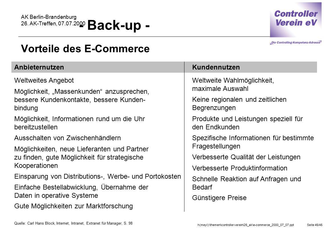 h(meyl):\themen\controller verein\26_ak\e-commerce_2000_07_07.pptSeite 45/45 AK Berlin-Brandenburg 26. AK-Treffen, 07.07.2000 Vorteile des E-Commerce