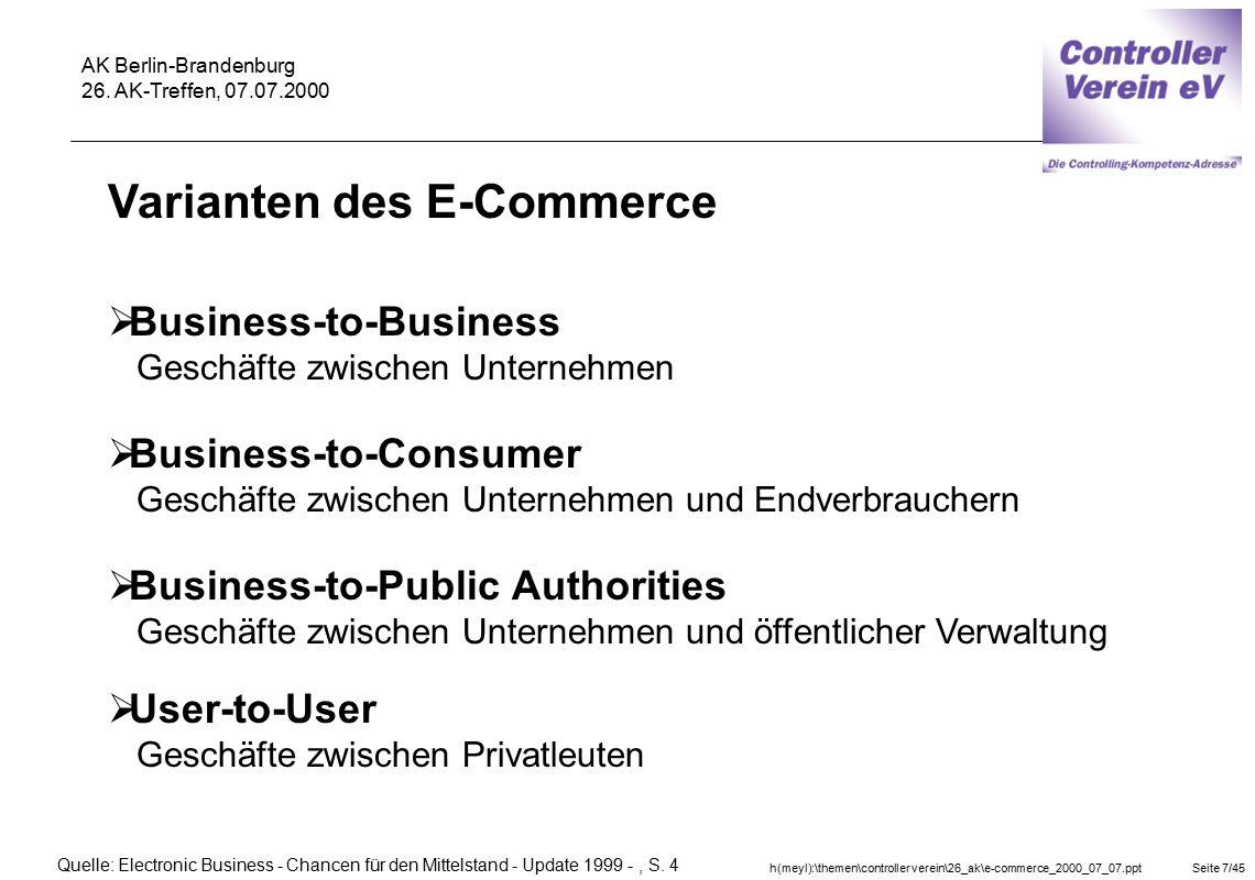 h(meyl):\themen\controller verein\26_ak\e-commerce_2000_07_07.pptSeite 7/45 AK Berlin-Brandenburg 26. AK-Treffen, 07.07.2000  Business-to-Consumer Ge