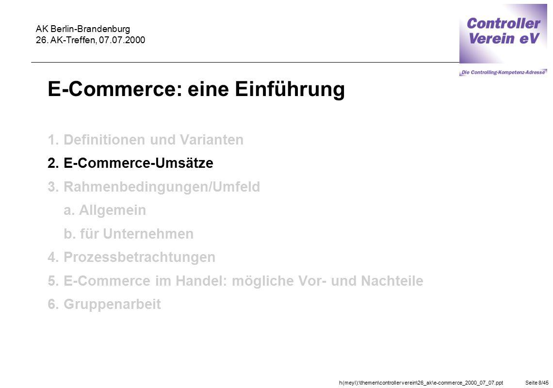 h(meyl):\themen\controller verein\26_ak\e-commerce_2000_07_07.pptSeite 8/45 AK Berlin-Brandenburg 26. AK-Treffen, 07.07.2000 E-Commerce: eine Einführu