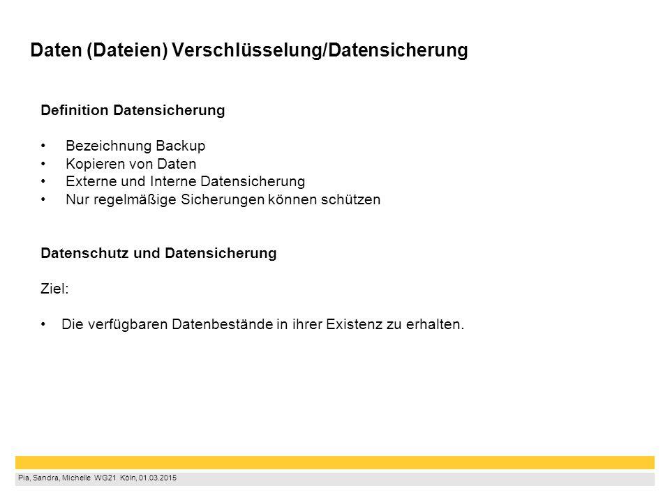 Pia, Sandra, Michelle WG21 Köln, 01.03.2015 Daten (Dateien) Verschlüsselung/Datensicherung Definition Datensicherung Bezeichnung Backup Kopieren v