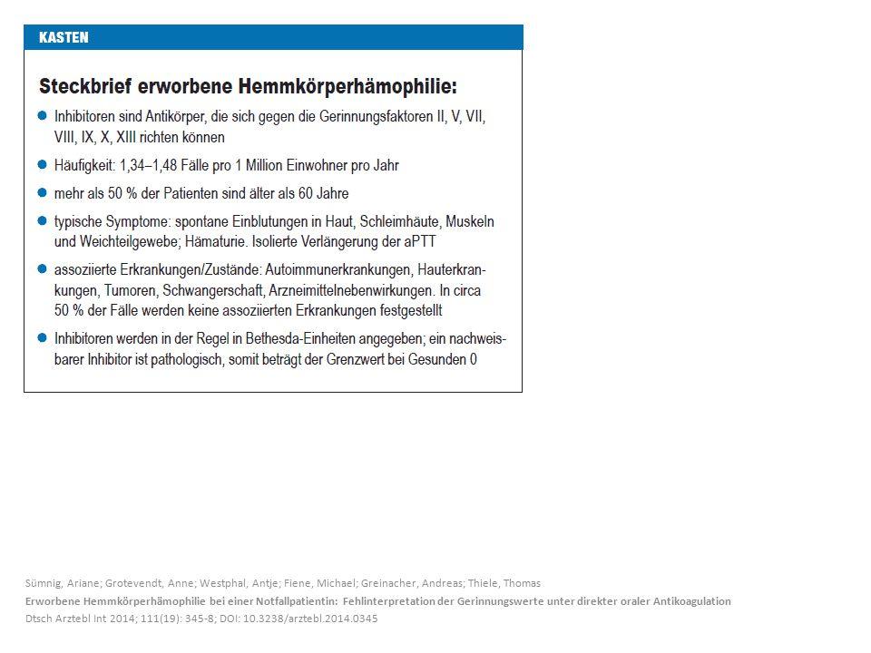Sümnig, Ariane; Grotevendt, Anne; Westphal, Antje; Fiene, Michael; Greinacher, Andreas; Thiele, Thomas Erworbene Hemmkörperhämophilie bei einer Notfallpatientin: Fehlinterpretation der Gerinnungswerte unter direkter oraler Antikoagulation Dtsch Arztebl Int 2014; 111(19): 345-8; DOI: 10.3238/arztebl.2014.0345