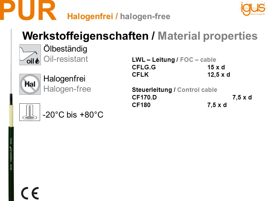 PUR Ölbeständig Oil-resistant Flammwidrig Flame-retardant Halogenfrei Halogen-free Halogenfrei & Flammwidrig / halogen-free & flame-retardant -20°C bis +80°C Steuerleitung / Control cable CF77.UL.D6,8 x d CF78.UL6,8 x d Mess-Systemleitung / Measuring system cable CF113.D10 x d Servoleitung / Servo cable CF270.UL.D10 x d CF27.D7,5 x d Busleitung / Bus cable CFBUS.PUR12,5 x d Datenleitung / Data cable CF240.PUR10 x d CF11310 x d CF11210 x d Werkstoffeigenschaften / Material properties