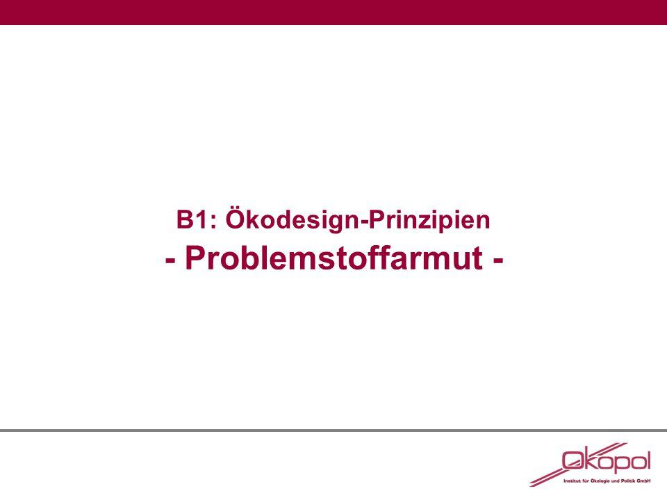 B1: Problemstoffarmut Abbildung 1:Übersicht über Emissionen und Expositionen entlang des Lebenswegs von Stoffen