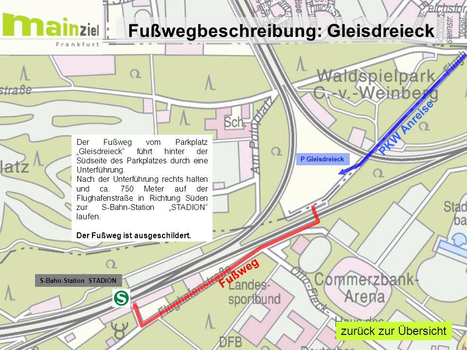 """P Gleisdreieck S-Bahn-Station STADION Fußweg PKW Anreise Der Fußweg vom Parkplatz """"Gleisdreieck"""" führt hinter der Südseite des Parkplatzes durch eine"""