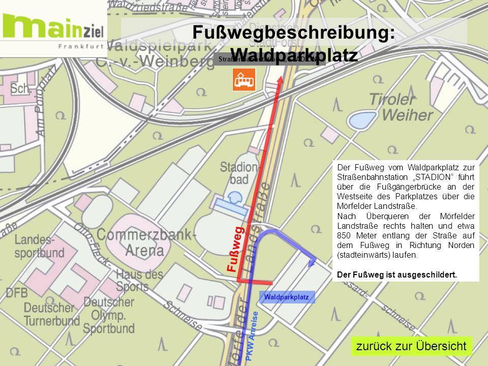 """Waldparkplatz Straßenbahnstation """"STADION"""" Fußweg PKW Anreise Der Fußweg vom Waldparkplatz zur Straßenbahnstation """"STADION"""" führt über die Fußgängerbr"""