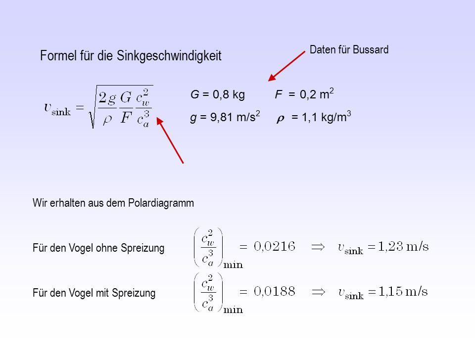 Für den Vogel ohne Spreizung Wir erhalten aus dem Polardiagramm Für den Vogel mit Spreizung Formel für die Sinkgeschwindigkeit G = 0,8 kg F = 0,2 m 2
