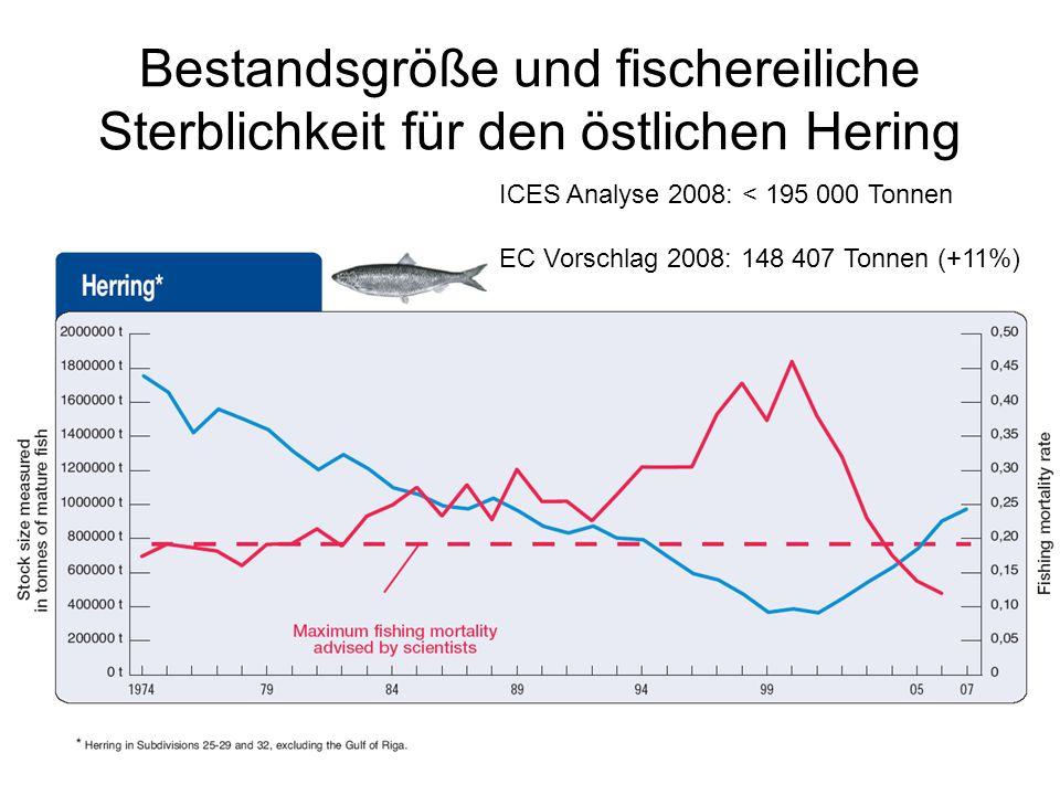Bestandsgröße und fischereiliche Sterblichkeit für den östlichen Hering ICES Analyse 2008: < 195 000 Tonnen EC Vorschlag 2008: 148 407 Tonnen (+11%)