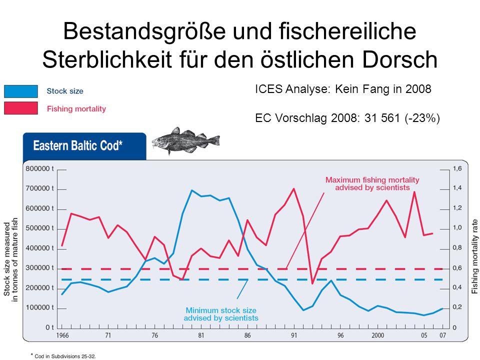 Bestandsgröße und fischereiliche Sterblichkeit für den östlichen Dorsch ICES Analyse: Kein Fang in 2008 EC Vorschlag 2008: 31 561 (-23%)