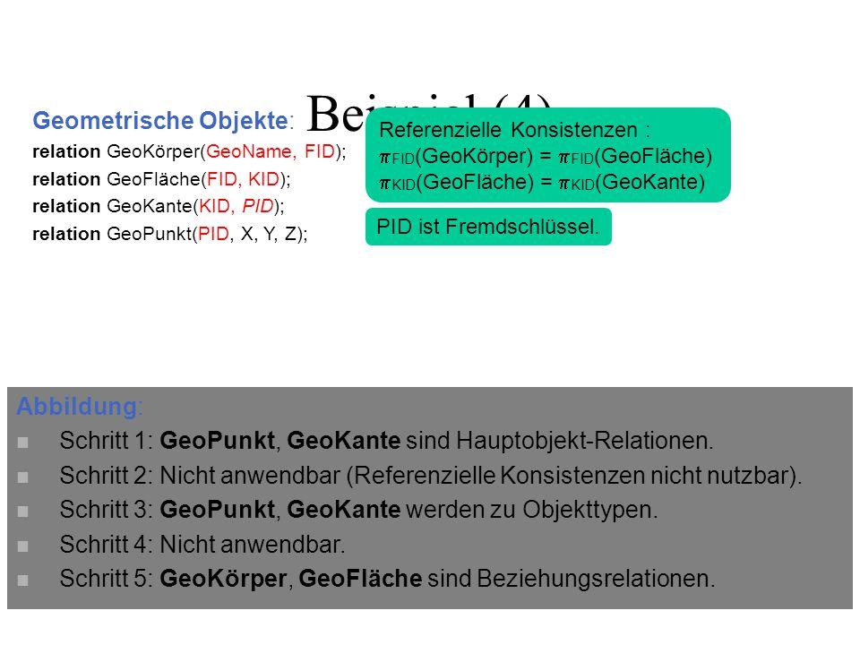 Geometrische Objekte: relation GeoKörper(GeoName, FID); relation GeoFläche(FID, KID); relation GeoKante(KID, PID); relation GeoPunkt(PID, X, Y, Z); Beispiel (4) Referenzielle Konsistenzen :  FID (GeoKörper) =  FID (GeoFläche)  KID (GeoFläche) =  KID (GeoKante) PID ist Fremdschlüssel.