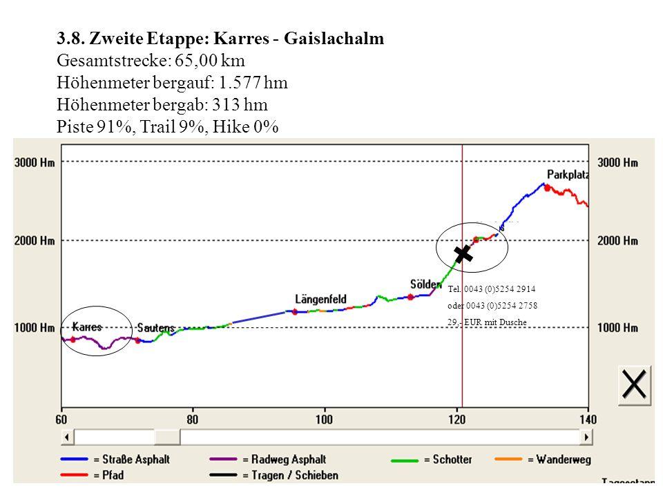 3.8. Zweite Etappe: Karres - Gaislachalm Gesamtstrecke: 65,00 km Höhenmeter bergauf: 1.577 hm Höhenmeter bergab: 313 hm Piste 91%, Trail 9%, Hike 0% T