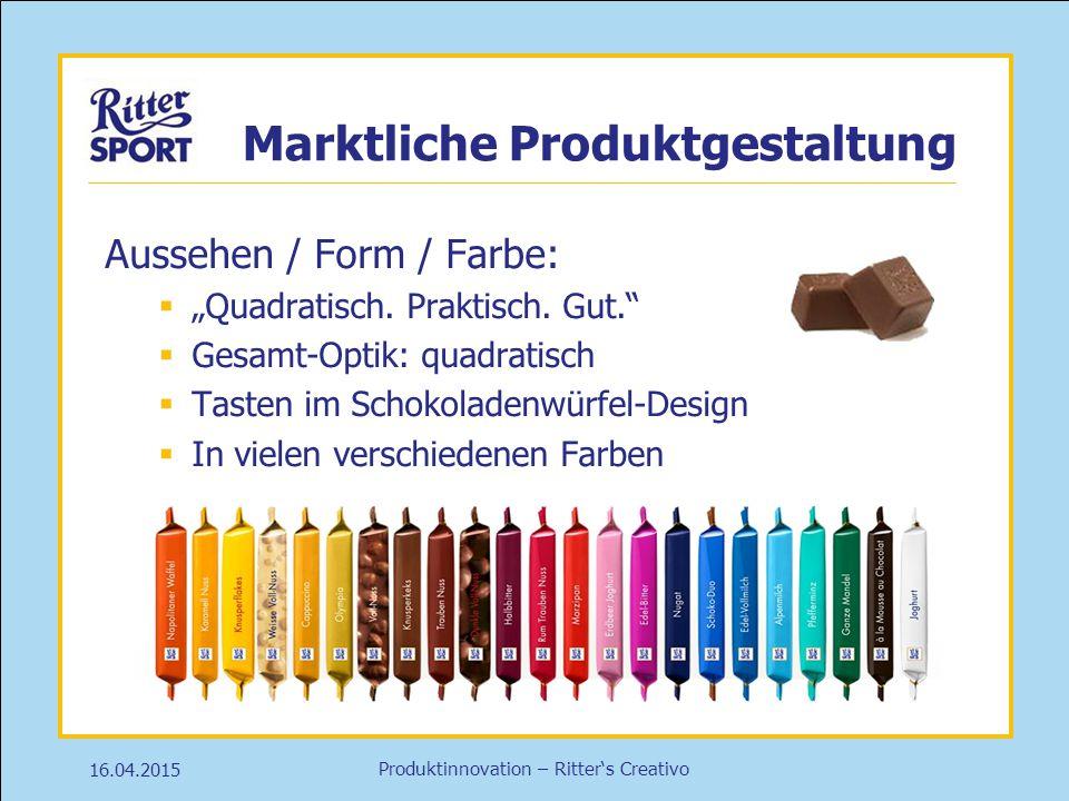 """Produktinnovation – Ritter's Creativo 16.04.2015 Marktliche Produktgestaltung Aussehen / Form / Farbe:  """"Quadratisch. Praktisch. Gut.""""  Gesamt-Optik"""
