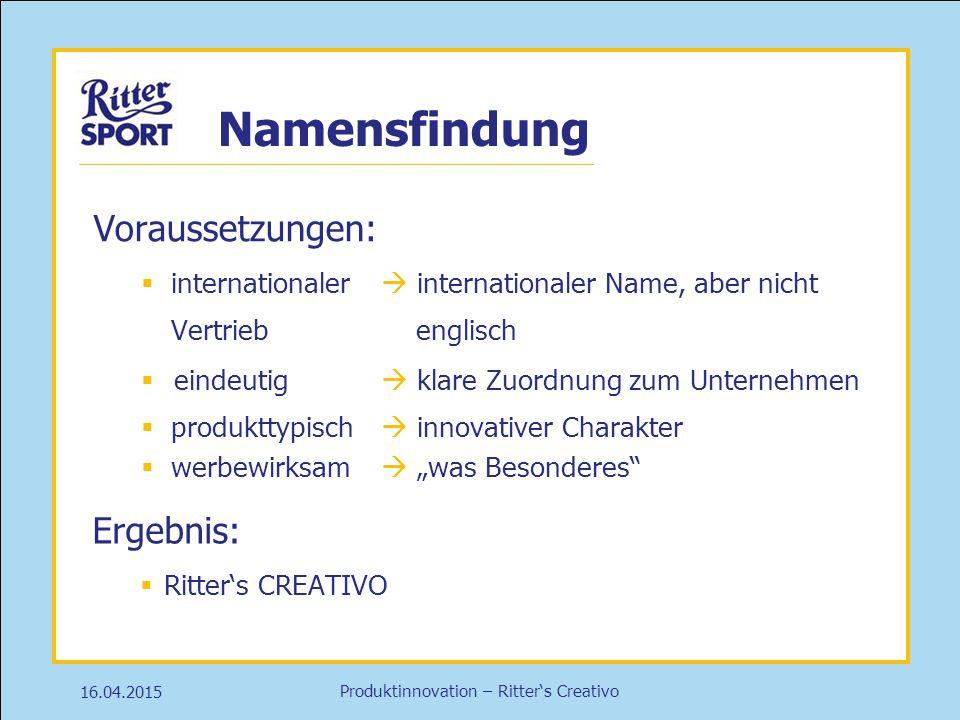 Produktinnovation – Ritter's Creativo Namensfindung 16.04.2015 Voraussetzungen:  internationaler  internationaler Name, aber nicht Vertrieb englisch