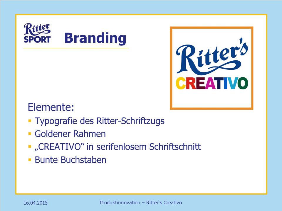 "Produktinnovation – Ritter's Creativo Branding 16.04.2015 Elemente:  Typografie des Ritter-Schriftzugs  Goldener Rahmen  ""CREATIVO"" in serifenlosem"