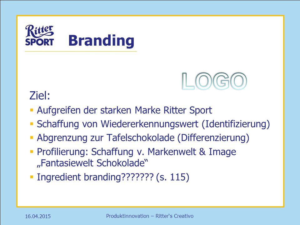 Produktinnovation – Ritter's Creativo Branding 16.04.2015 Ziel:  Aufgreifen der starken Marke Ritter Sport  Schaffung von Wiedererkennungswert (Iden