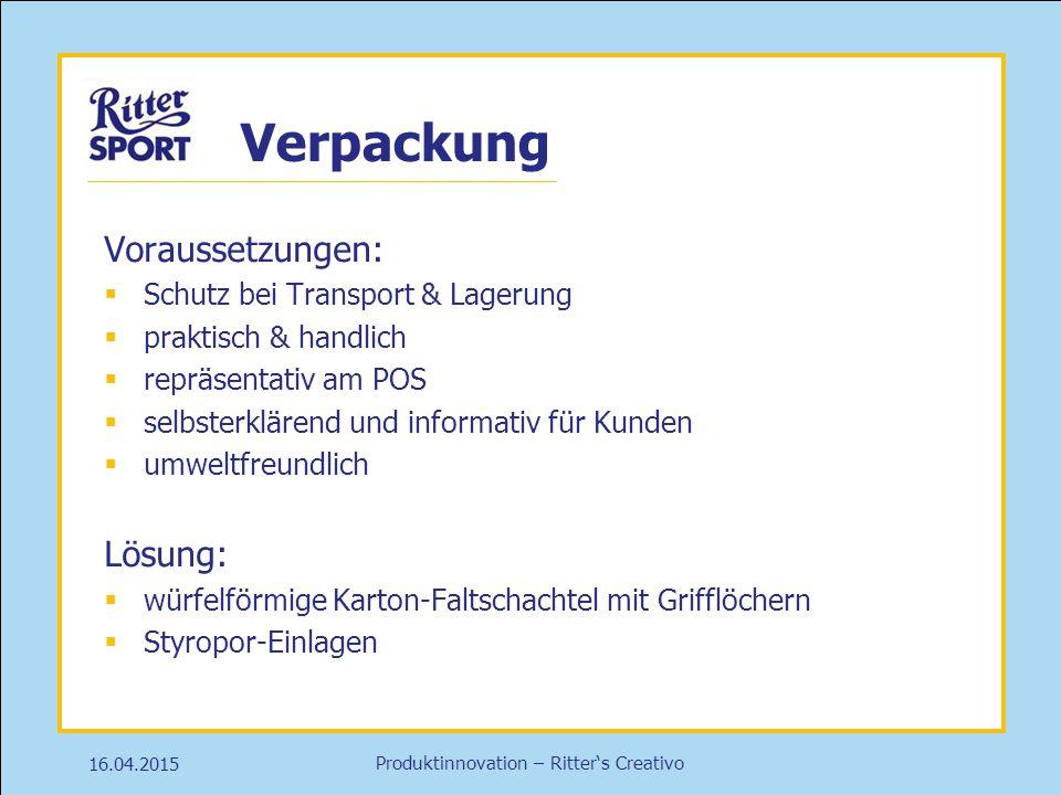 Produktinnovation – Ritter's Creativo Verpackung Voraussetzungen:  Schutz bei Transport & Lagerung  praktisch & handlich  repräsentativ am POS  se