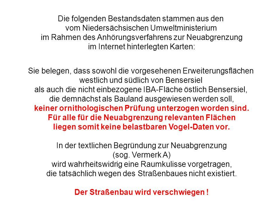 Die folgenden Bestandsdaten stammen aus den vom Niedersächsischen Umweltministerium im Rahmen des Anhörungsverfahrens zur Neuabgrenzung im Internet hi
