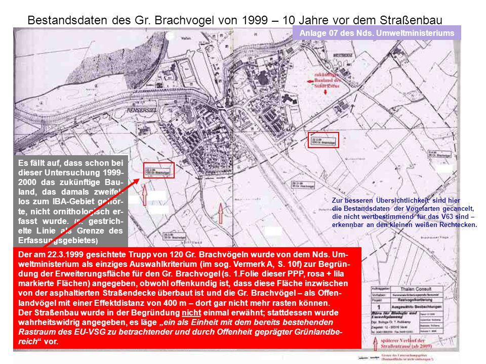 Bestandsdaten des Gr. Brachvogel von 1999 – 10 Jahre vor dem Straßenbau Es fällt auf, dass schon bei dieser Untersuchung 1999- 2000 das zukünftige Bau